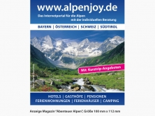 """ALPenjoy Anzeige im Magazin """"Abenteuer Alpen"""""""
