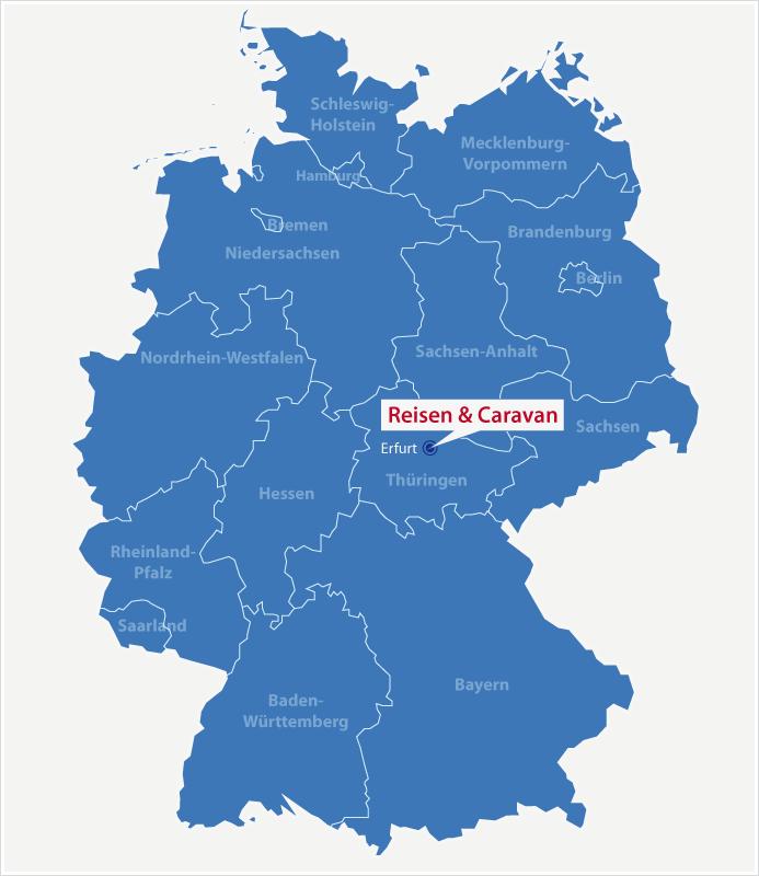 Karte Standort Reisen & Caravan in Erfurt
